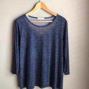 Blue 3/4 sleeves top